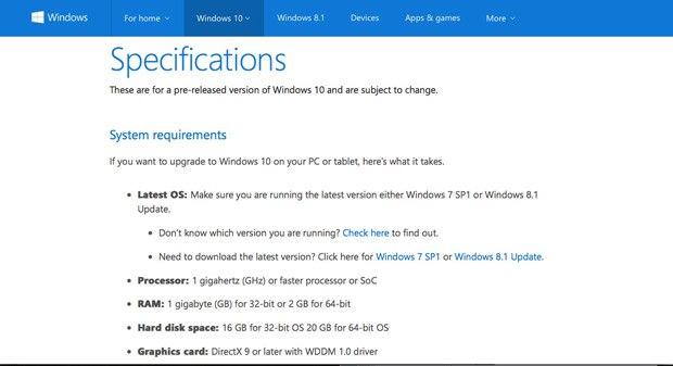 Microsoft опублікувала вимоги для Windows 10