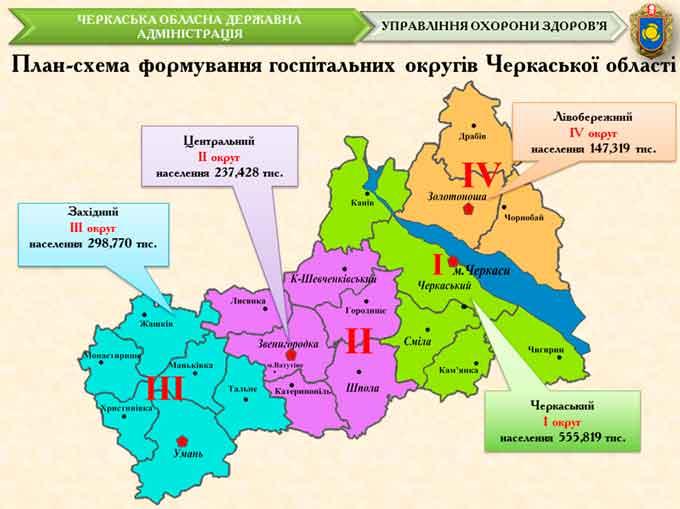 Представлено план створення п'яти госпітальних округів у Черкаській області