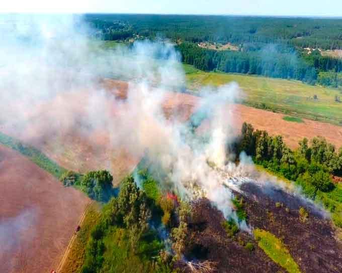 У Черкаському районі ліквідовано масштабну пожежу сухої трави та очерету (відео)
