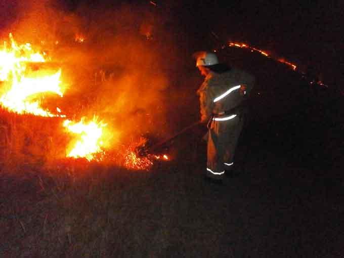 У Катеринопільському районі рятувальники ліквідували пожежу сухої трави на площі 2 га
