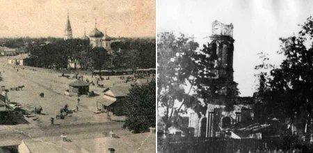Зліва – такий вигляд мала церква на центральній площі. Справа – залишки зруйнованої дзвіниці. Фото з Facebook Бориса Юхна