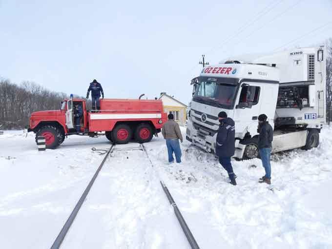 У Шполянському районі вантажний Mercedes застряг на залізничному переїзді (відео)