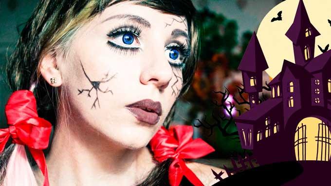 Чтобы сделать на Хэллоуин макияж, который напоминает лицо фарфоровой куклы, подчеркните глаза и рот, очертите брови, затемняя их больше, чем обычно