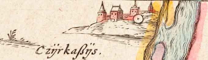 Панорама Черкаського замку з додатку до карти Радзивіла
