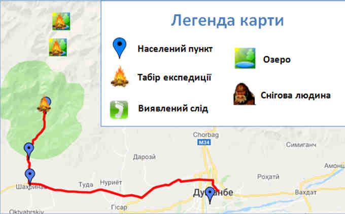 Маршрут української експедиції «Гісар-91»