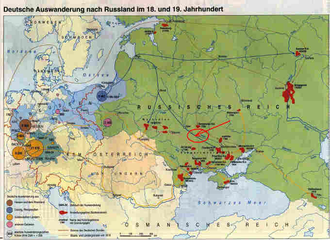 Як бачимо, 200 років назад Черкаси були транзитним пунктом на шляху масової імміграції німців в південні регіони України та Поволжя. Маршрут пролягав з Кенігсбергу та Риги – через Мінськ – Київ – Черкаси і далі на Запоріжжя. Помаранчевим кольором на карті позначені місця компактного проживання німецьких колоністів (а їх було чимало