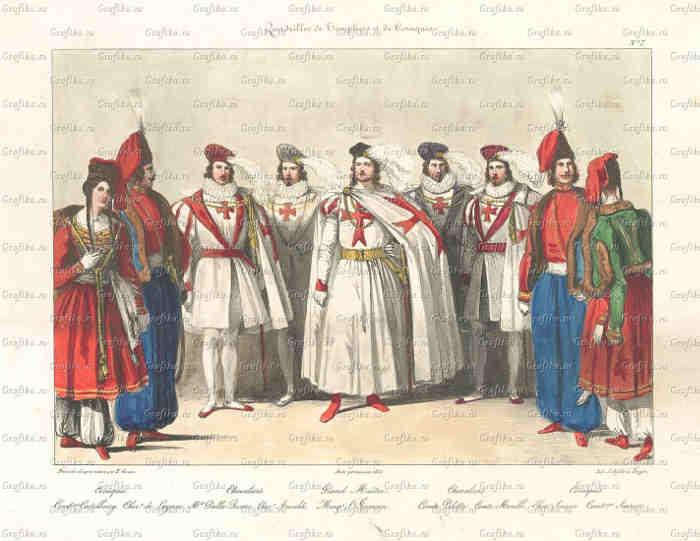 На одній стародавній гравюрі [15] зображені разом тамплієри та українські козаки. У центрі групи стоїть Великий магістр відродженого Ордена тамплієрів граф Сен-Жермен (1712 – 1784 рр.)