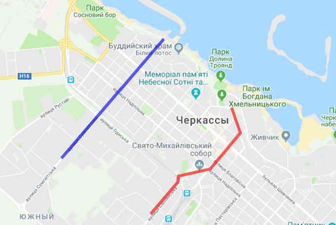 В Черкасах є два схожі об'єкти: діюча зливова каналізація, або «Казбетська труба» (позначена блакитним кольором на схемі), та недобудована «Першотравнева труба» (позначена червоним)