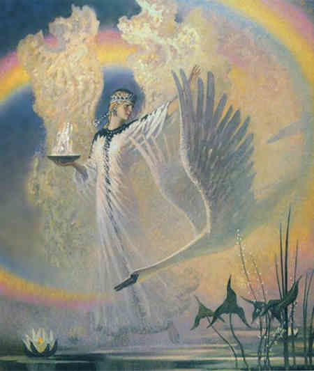 Язичницька Богиня Слава з вогняною чаше