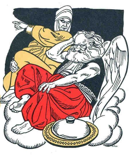 Олімпійські небожителі Зевес та його дружина Юнона