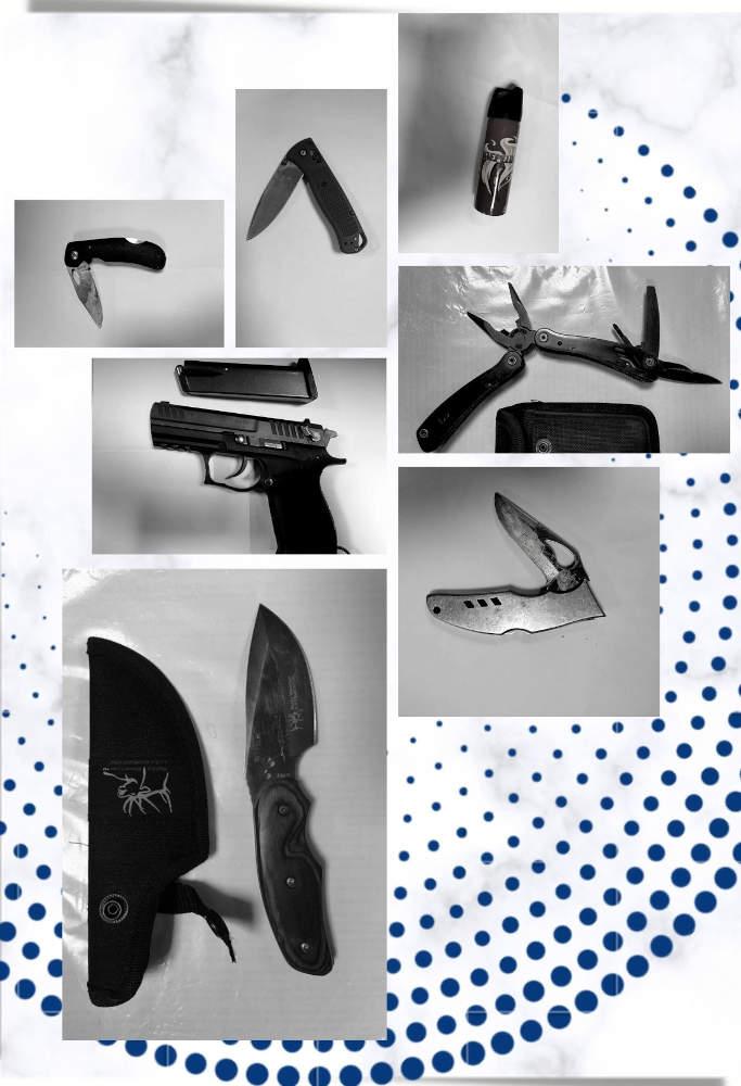 До судів Черкащини протягом місяця намагалися пронести 6 одиниць зброї та 73 ножі (фото)